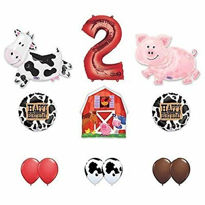 Barn Farm Animals 2nd Birthday Party Supplies Cow, Pig, Barn Balloon Decorations - Farm Animals Party Supplies