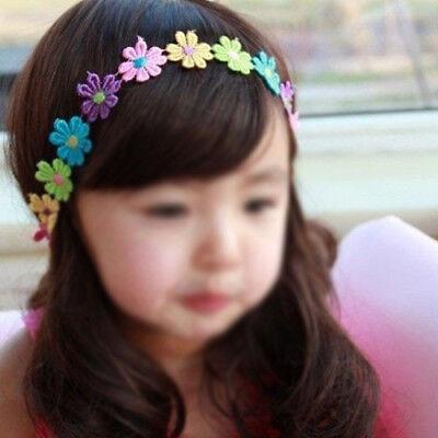 Kinder bunte Sonnenblumen Stirnband Haarband Kopfband mit schwarzem elastis V3V3