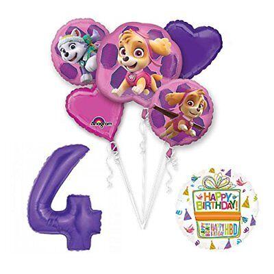 PAW PATROL SKYE & EVEREST 4th Birthday Party Balloons Suppli