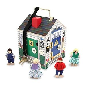 Melissa & Doug Take- Wooden Doorbell Dollhouse - 4 wooden dolls