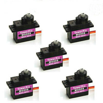 SG - 5 Pcs MG90S Micro Metal Gear 9g Servo for RC Airplane Helicopter Boat Car