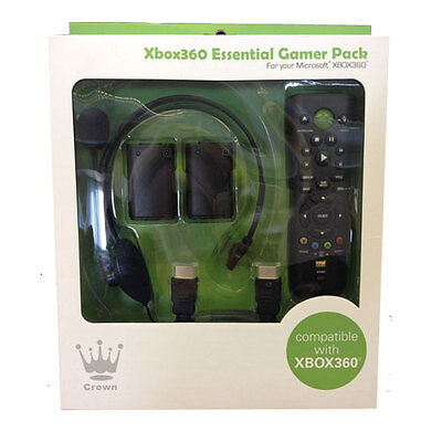 NEW CROWN XBOX 360 ESSENTIAL GAMER HEADSET REMOTE ACCESSORY PACK BLACK XB830BLK