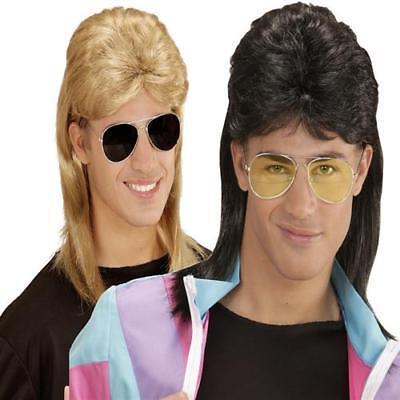 Vokuhila Herren Perücke mit Piloten-Brille Mullet 80s Proll, blond , schwarz ()