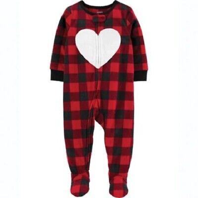 Carter's Red Buffalo Plaid Heart Fleece Blanket Sleeper Pajamas Girl Size 4T NEW Heart Blanket Sleeper