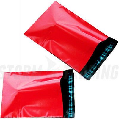 SALE 200 RED Plastic poly postal post Mailing Bags 250 x 350 mm 10 x 14