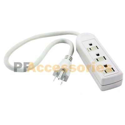1 FT 3 Outlet Safety Surge Protector US Plug AC Wall Power Strip UL Listed Grey
