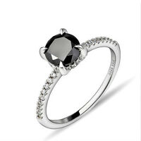 NEW 925 Sterling Silver Black CZ Engagement Promise Ring Size 7