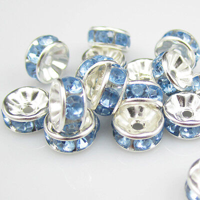 Free shipping Charm for jewelry 20pcs 8MM Plated silver crystal spacer beads B15