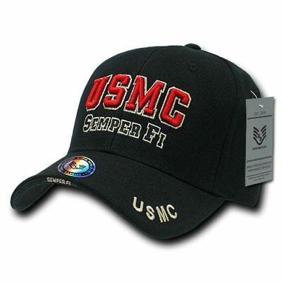 Semper Fi Cap (United States Marines USMC Black Semper Fi  Military Hat Baseball Cap Hat )