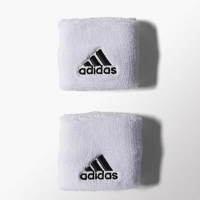 NWT ADIDAS 2PK 1 pair white/black logo Sweatbands WRISTBANDS TERRY LOOP S21998