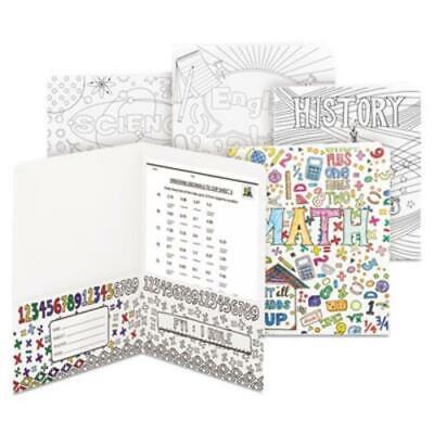 Smead 87910 Two-pocket Coloring Folder 11 X 8 12 School Subject Designs