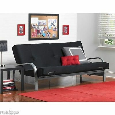 Full Size Futon with Mattress Frame Bed Couch Dorm Furniture Sofa Cover Sleeper (Couch Futon Mattress)