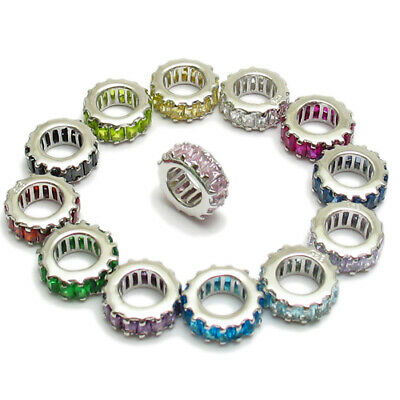 CLOSEOUT! 925 Sterling Silver Large European Birthstone Wheel Bead Charm -