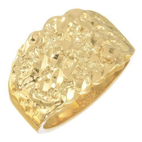 mens 14k solid gold nugget ring ebay