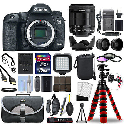 Canon EOS 7D Mark II DSLR Camera with 18-55mm Lens + 16GB Mega Accessory Bundle for sale  Shipping to India