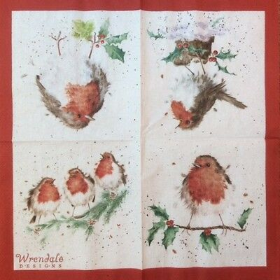 4 x Single Paper Table Napkin/WRENDALE/Christmas Robin