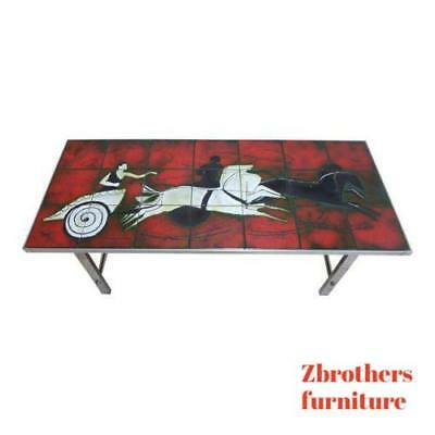 Mid Century Chrome Chariot Horse Ceramic Tile Top  Italian Coffee Table ()