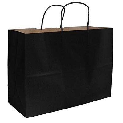 250 Paper Shopping Bags Black Kraft Paper Gift Shoppers Vogue 16 X 6 X 12