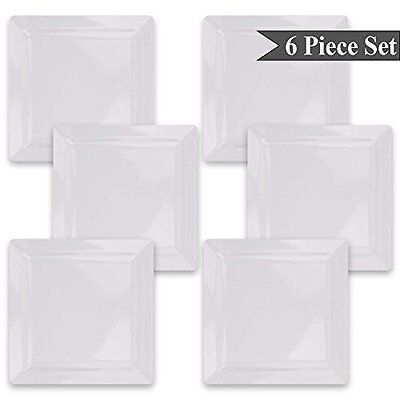"Square White Melamine Salad Dessert Bread Plates (7"") Set of 6 by bogo Brands"