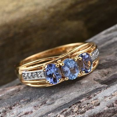 1Ct Rare Bondi Blue Tanzanite Trilogy & Diamond 14K Y Gold/925 Ring Size N