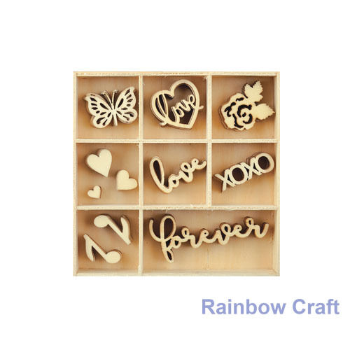 Kaisercraft Wooden Flourish packs / storage box 74 selections - Love