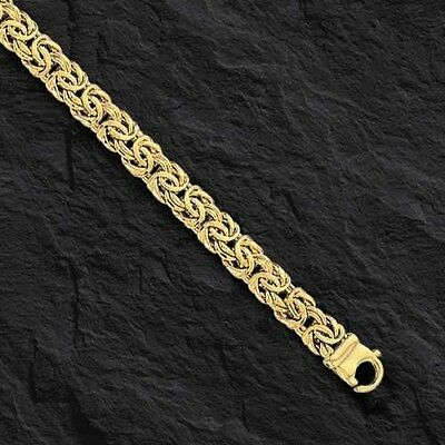 "14k Yellow Gold Super Byzantine Link Fashion Chain Necklace 20"" 9mm 25 grams"