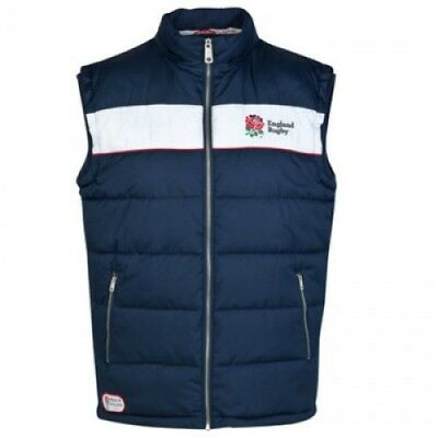 - ENGLAND RUGBY RFU OFFICIAL MENS DETACHABLE HOODED PADDED GILET SIZE S RRP £55
