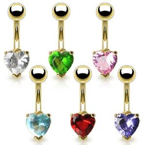 Gold-Plated-Heart-Belly-Bar-With-Solitaire-CZ-Crystal-Navel-Piercing-UK-SELLER