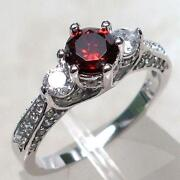 Sterling Silver Garnet Ring Size 7