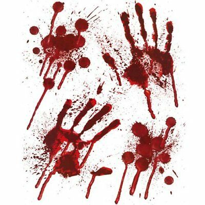Halloween Theme Party 4 x Horror Bloody Handprints & Blood Splats Stains Clings