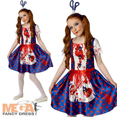 Zombie Rag Doll Girls Halloween Fancy Dress Childs Kids Costume Outfit Age 9-12