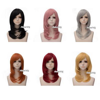 50cm Fashion Wellig Medium Basis Frauen Anime Cosplay Perücke + Cap 7 Farben Neu ()
