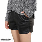 Leather Patternless High Waist Shorts for Women