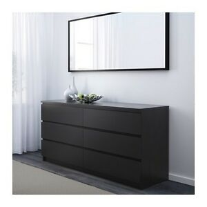 Phenomenal Malm 6 drawer dresser with glass top