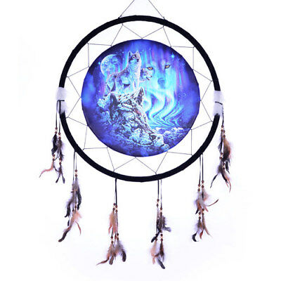 "Giant 26"" Blue Hidden Wolves Wolf Water Rock Scene Dream Catcher Feathers 2666"