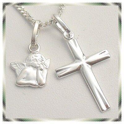 Damen Kinder Schmuck Engel Kreuz Anhänger mit Kette Echt Silber 925 Schutzengel