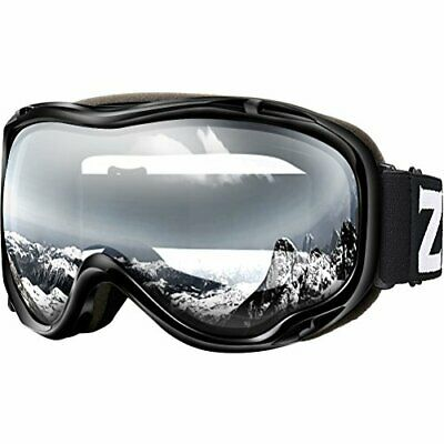 ZIONOR Lagopus Ski Snowboard Goggles UV (D-VLT 99% Black Frame Clear Lens)