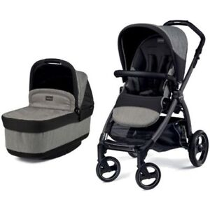 Peg Perego Book Pop-Up Stroller (Chassis, Bassinet, + Seat) Grey