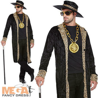 1970s Black Pimp Costume + Hat 70s Fancy Dress Party Mens Adult Gangster Outfit (Pimp Outfits Halloween)
