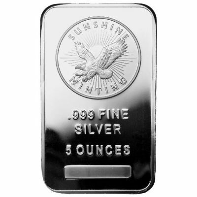 5 oz Sunshine Silver Bar (New, MintMark SI, Sealed)