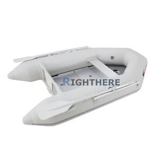 2.3M INFLATABLE BOAT FISHING TENDER DINGHY YACHT ALUMINUM FLOOR WITH OARS PUMP