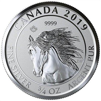 Wild Horse Mustang (2019 Canadian Animal Portrait Series Wild Horse (Mustang) 3/4 oz Silver RP Coin)