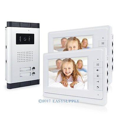 """7""""LCD Bildschirm Video Türsprechanlage Gegensprech Regenschutz Kamera 2 Familien"""