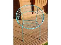 BRAND NEW Blue or White Metal Round Wire Chairs Eames style