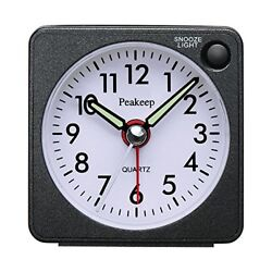 Peakeep Ultra Small, Battery Travel Alarm Clock with Snooze and Light, Silent
