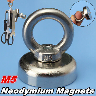 25x30mm N52 Rare Earth Eyebolt Recovery Magnet Metal Detector For 14KG Salvage