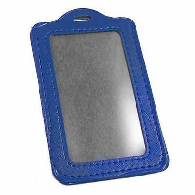 Blue Office School Faux Leather Vertical Name Card Id Badge Holder Pouch