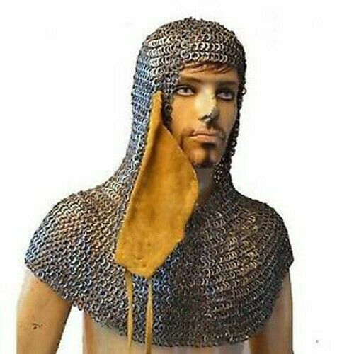 Flat Wedge Riveted Chain Mail Hood Maille Coif Wedge Riveted