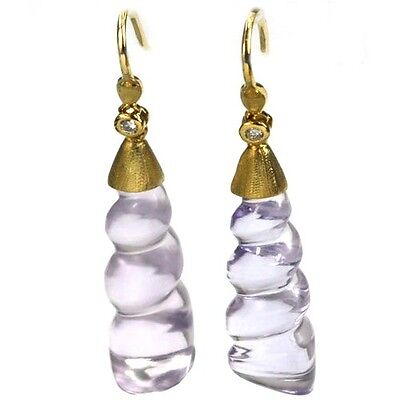 (De Buman 23.65ctw Genuine Amethyst & Diamond Solid 18KY Gold Earrings)