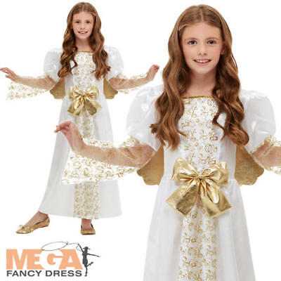 Golden Angel Girls Fancy Dress Christmas Nativity Kids Festive Costume Outfit Ne